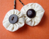 Decorative Bobby Pin Pair with Creamy Cotton yoyos and vintage Dark Brown wood and leather buttons by Stitching in Circles
