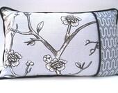 Lumbar pillow, contemporary pillow, gray cushion. Dwell Studio bird print