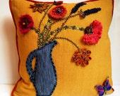Autumn pillow, flower pillow, artistic pillow, boho pillow, orange pillow