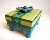 Treasure box, teal and green gift card holder, jewelry box
