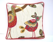 Crazy bird pillow, pastel striped pillow, bird print