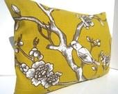 Dwell studio pillow, yellow bird pillow, nature pillow, lumbar pillow