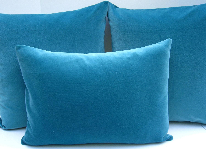 Turquoise Pillow Lumbar Pillow Cover Velvet By