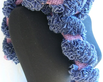 Salsa Spiral Ruffle Scarf. A tubular crocheted scarf, original design, unique, ONE OF S KIND. Dressing scarf cick scarf sparkle scarf