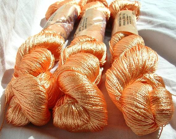 Viscose Silk Yarn: Shining, Superfine / Lace weight, bright crochet yarn, color peach, rich yolk. Yarn Ajur