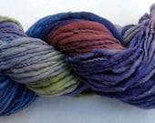 SALE - Handspun Handdyed Thick and Thin Merino Singles Yarn - 85 yards