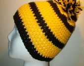 Black and gold beanie hat