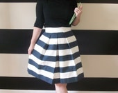 Navy and White Striped Skirt full, pleated Katie skirt Custom made