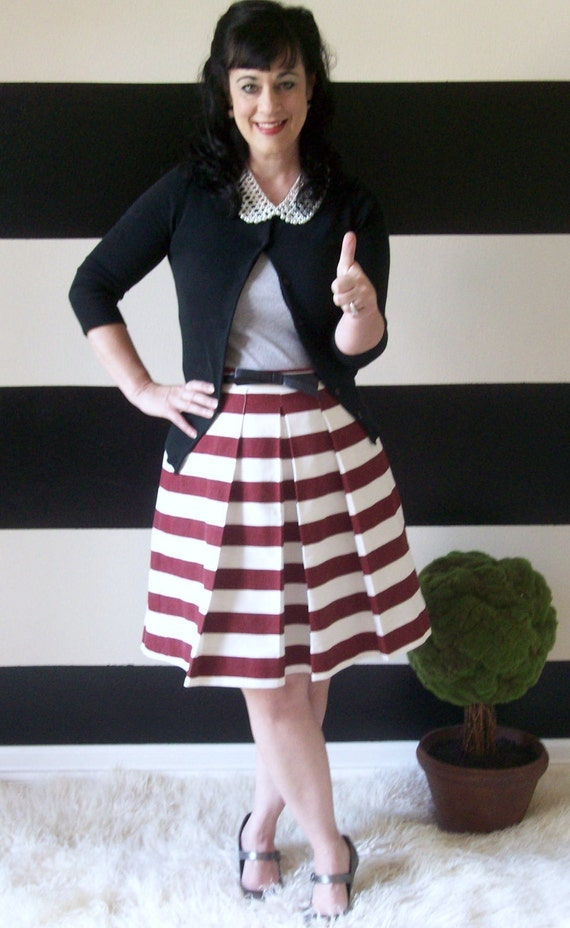 Reserved listing- Maroon and White Katie Skirt