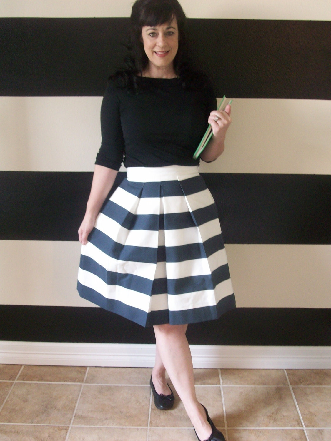 Navy and White Striped Skirt full pleated Katie skirt Custom