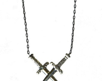 Sterling Silver Double Dagger Romeo and Juliet Necklace