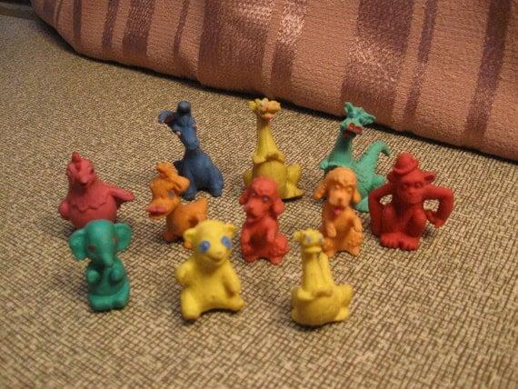 11 Colorful Small Rubber Animals