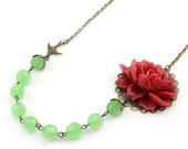 Red and Green Flower Necklace - Annamaria (FREE Matching Earrings)
