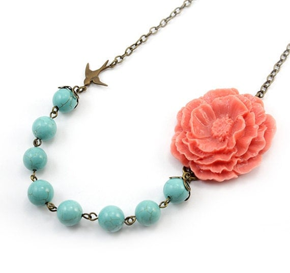 Coral and Turquoise Flower Necklace - Sofia (FREE Matching Earrings)