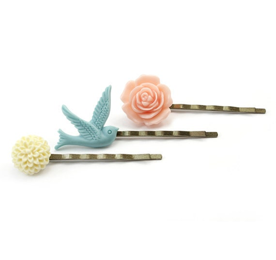 Spring Bobby Pins Set - Peach Blue and Ivory - Liliana