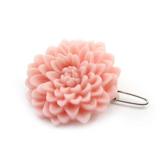 Flower Hair Barrette - Hair Clip - Peach Pink Mum - Cloe