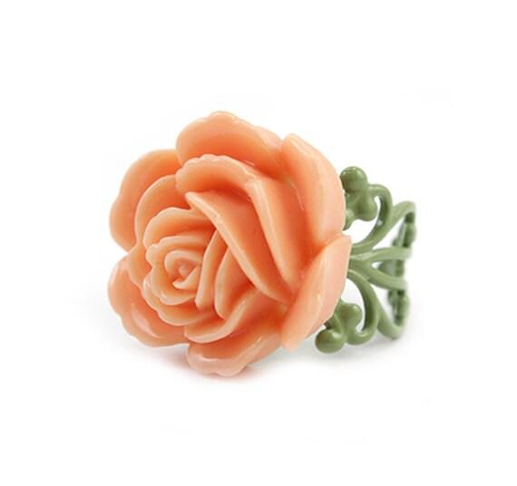 Peach Peony Ring - Vera