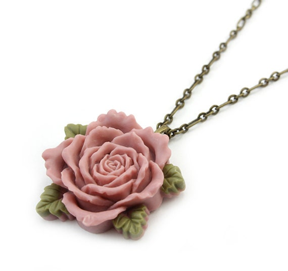 Mauve Rose Pendant Necklace - Miriam
