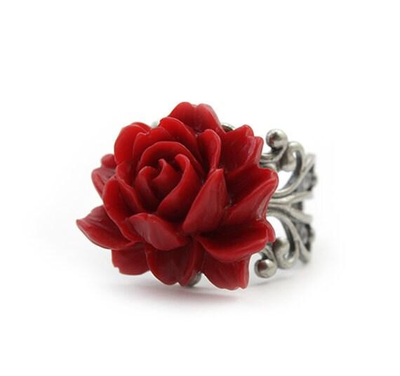 Scarlet Red Rose Ring - Eloisa