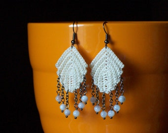 Irish Crocheted Lace Jewelry Cotton Feather Earrings