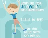 Gymnast birthday invite- custom