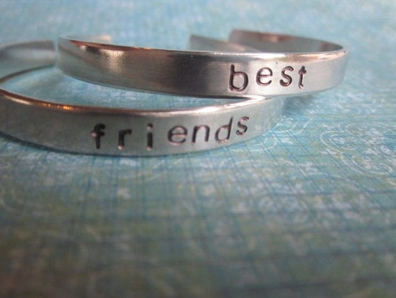 "Custom Hand Stamped ""Best Friends"" Bracelets-Set Of 2- Add Your Names"