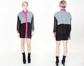 Vtg 90s Checkered Sheer Blouse M