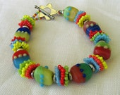 Glass Lampwork Seed Beads Bracelet Bright Colors Yellow Coral Blue Green Red Handmade Fashion  Mom Mother's Day