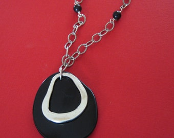 Sterling Silver Necklace, Silver and Black Necklace, Black Tagua Necklace, Handmade Silver Necklace, Tagua Nut Necklace