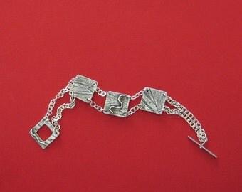 Handmade Silver Bracelet, Silver Chain Bracelet, Silver Link Bracelet, Silver Artisan Bracelet, Unique Gift for Mom Daughter Sister