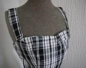 Saucy 60's Style Black & White Plaid Spring Strappy Dress