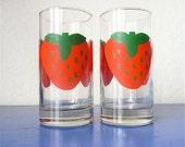 Pair of Strawberry Retro Tumbler Glasses