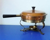 Vintage Copper and Brass Chafing Dish, Warmer, Server