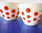 MID CENTURY Set of 2 Red Polka Dot Fire King Mixing Bowls