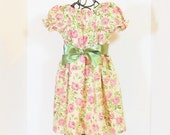 Girls VINTAGE STYLE Rose DRESS Size 6mo to 6  Shabby Chic Spring Summer Dress Baby Toddler 6mo 9mo 12mo 18mo 24mo 2T 3T 4T 5 6