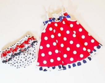 Baby Toddler Girl PATRIOTIC  OUTFIT with Ruffle Bloomers Size Newborn to 2T Red  White Blue  Summer Outfit