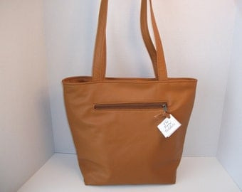 Leather  Tote Bag  -Purse- made in the USA - caramel color leather
