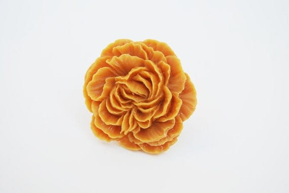 Resin Flower Ring, Goldenrod Yellow Peony Flower Ring, Adjustable Ring