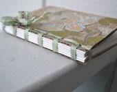 Handmade Journal - Repurposed Cardboard - Glittered Flowers - Seam Binding  - Vintage Button - Recycled Speckltone Paper