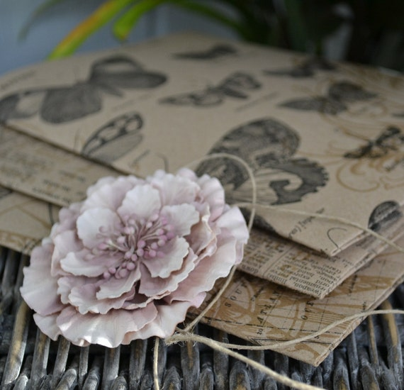Set of Three Kraft Folders with Artist Quality Sketch Paper-Kraft Folders with Art Paper-Antique pink flower
