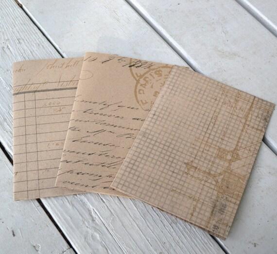 Set of Three Small Kraft Folders-Vintage Look