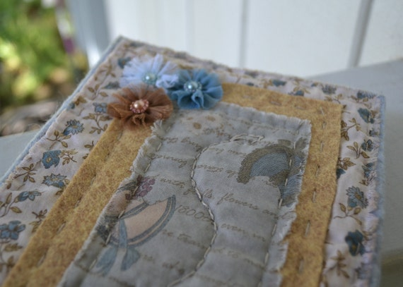Hand Stitched Wool Felt and Fabric Quilted Blank Journal/Scrapbook/Guestbook with Ink Distressed Recycled Paper