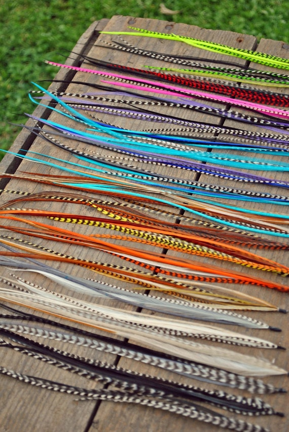 Up for Grabs. 3 bundles of Feather Extensions. You pick the colors. Salon Grade, Hand Dyed, Vibrant, Bohemian