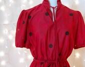 1970s Red and Black Secretary Dress L XL