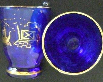Cobalt Blue and Gold Rimmed Liqueur  Shot Glasses