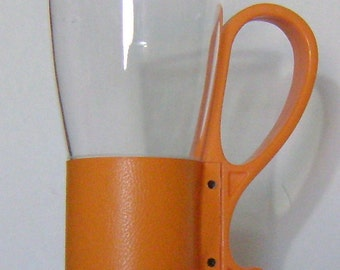 retro orange tall handled drinking glass