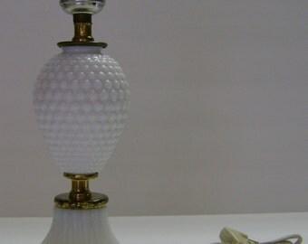 Milk Glass Hobnail Design Boudoir Lamp