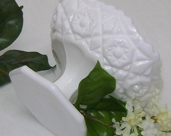 Scalloped   Pedestal Compote Milk glass Candy Dish