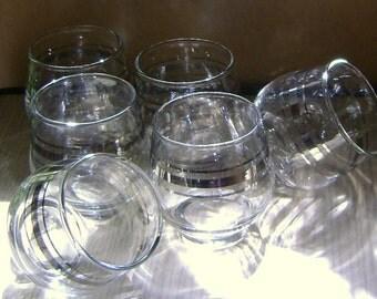 Triple Silver Band Cordial Glasses
