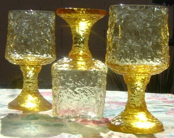 Lenox Crystal Yellow  Impromptu Water or Wine Glasses